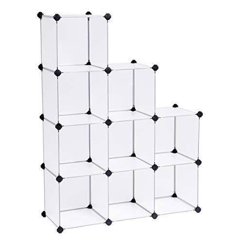 SONGMICS Regalsystem Cube Aufbewahrung Badregale Schuhregal Sideboard Kommode Kleiderschrank Aufbewahrungsbox Weiß LPC115 (Dem Aufbewahrungsbox Sitz Unter)