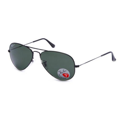 Ray-Ban Unisex Sonnenbrille Aviator Large Metal Gelstell: Schwarz, Gläser: Polarized Grün Klassisch 002/58, X (Herstellergröße: 62)