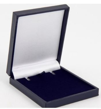 Slimline Luxury Leatherette/Satin Jewellery Box (Necklace, Earrings, Pedant) Economical to Post (Navy)