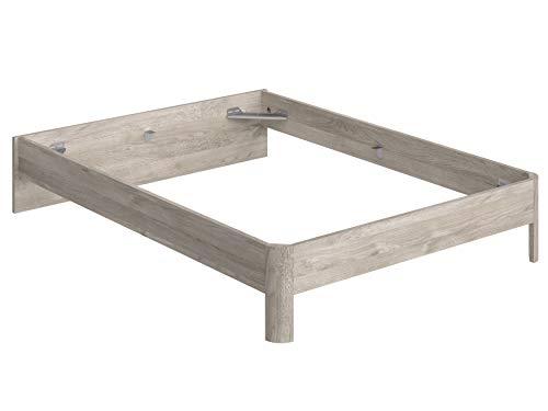 Movian Indre Modern - Base para cama de matrimonio con cabecero bajo, 194,5 x 144,5 x 31,7 cm (Efecto Roble)