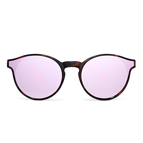 JIM HALO Rund Spiegel Sonnenbrille Mode Kreis Getönt Flach Schatten Linsen Damen Herren(Rosa/Blitz Rosa)