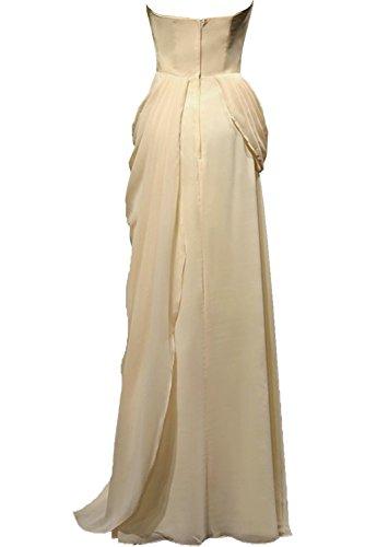 Milano Bride Damen Elegant Herz-Ausschnitt aermellos traegerlos Abendkleider Promkleider Ballkleider Festkleider Chiffon mit Schaerpe Lang Lilac