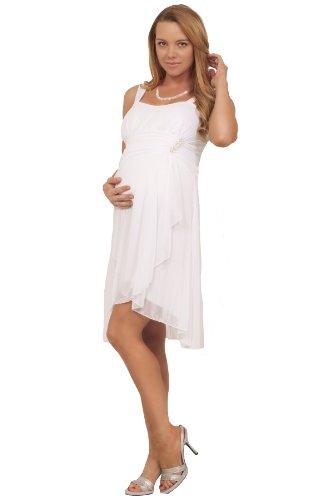 Maternité sans manches chérie Paillette Layered soirée Sheer robe formelle blanc de neige