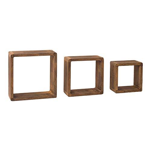 Rebecca Mobili 3er Set quadratischer Wandregale, Bücherregale aus Holz, Regale für Schlafzimmer Wohnzimmer - Maße: 26 x 26 x 9 cm (HxLxB) - Art. RE4180