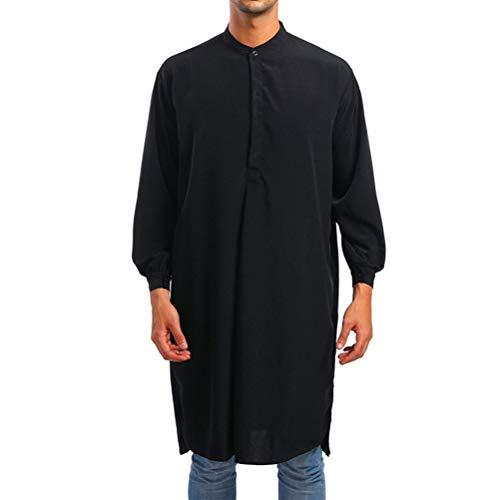 Zhhlinyuan Arabisches Kleid Langes Spitzenhemd Thobe Muslim Saudi Kaftan Robe Gebetsmantel - Türkische Dubai Thawb Ethnische Kleidung
