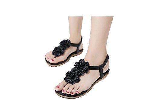Da donna Scarpe sandalo flip-flop Di fiori Stili Boemia Nero