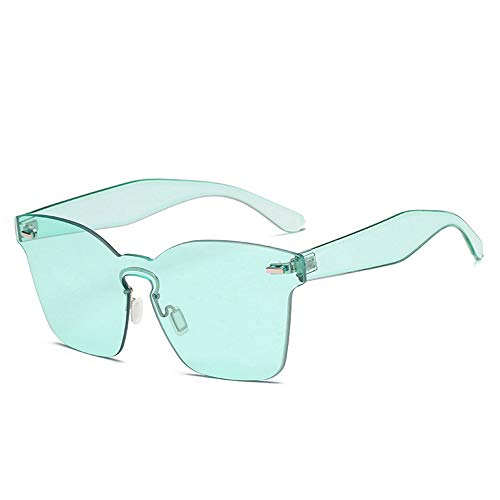 SUPOFAIXIN Flat Top Candy Color Integrierte Linse Männer Frauen Sonnenbrille Dekoration Randlose Linse Brille