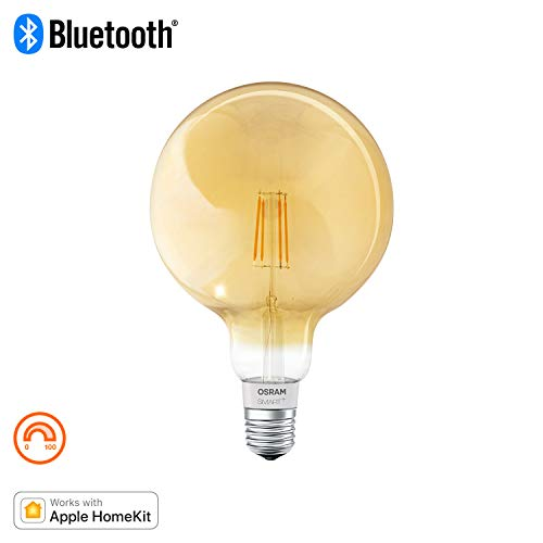 Osram Smart+ Lampadina LED a Filamento Bluetooth, Compatibile con Apple Homekit e Android Globo, E27, 60W Equivalenti, Dimmerabile, Finitura Ambrata
