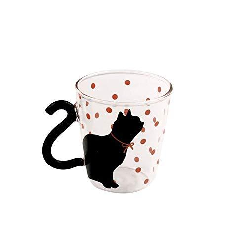 NiceButy Nette kreative Katze Katze Glasschale Teetasse Milchschale Kaffeetasse rosa red dot ()
