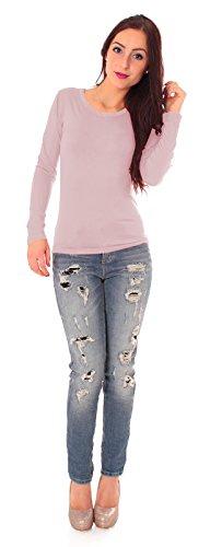 Pull à manches longues pour femme dans différents coloris basic t-shirt à manches longues sous-pull à col roulé zippé Vieux Rose