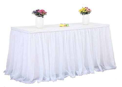 HBBMAGIC Tüll Tischrock Weiß Tischdecke Tütü Tischröcke Party Deko Für Hochzeit, Geburtstag, Candy Bar, Weihnachten