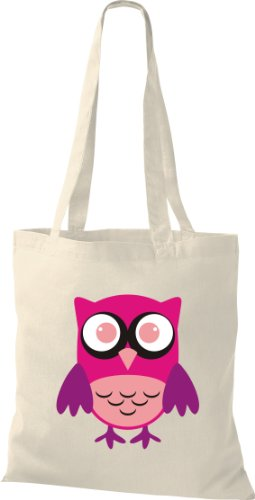 Stoffbeutel Bunte Eule niedliche Tragetasche Owl Retro diverse Farbe natur