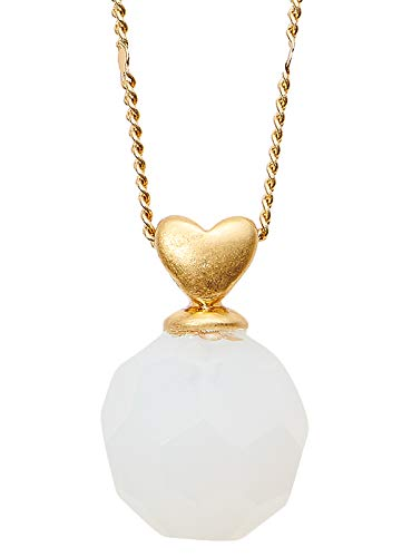 SENCE Copenhagen Damen Kette mit Kugel Anhänger Gold - Secret Garden 2019 Serie Jasmine Necklace Matt Gold runder Anhänger Glass Weiß Vergoldet 41 cm - K814