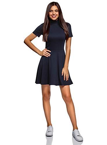 oodji Ultra Damen Kleid mit Stehkragen und Ausgestelltem Rock, Blau, DE 38 / EU 40 / M