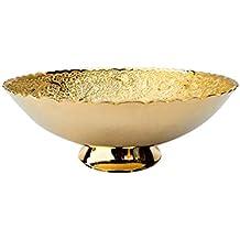 DEVKIKALA MANDIR CORPORATION Brass Decorative Bowl Handicraft with 24 Carat Gold Plating (16.5 cm x 0.3 cm x 6.5 cm,DKMCM05)