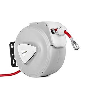 GREENCUT MNA300 – Manguera de aire comprimido de 30m con enrollador automatico, soporte de pared y presion de trabajo 18bars