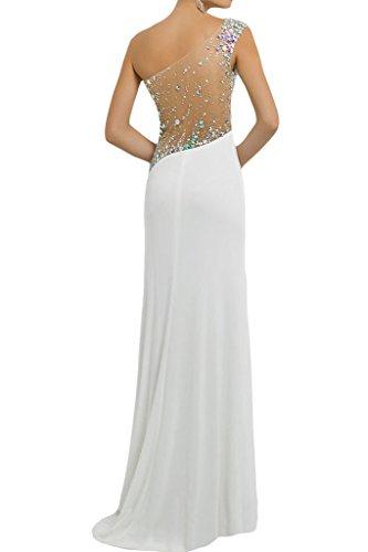 ivyd ressing Femme Fashion fente pierres d'une robe d'épaule Party Prom robe robe du soir Weiß