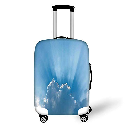 Travel Luggage Cover Suitcase Protector,Sky Decor,Sunburst Silver Lining View Fluffy Clouds in The Summer Sky Nature Picture Decorative,Blue Gray,for Travel,L -