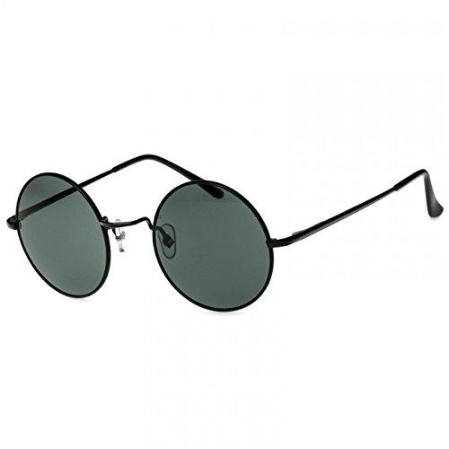 CASPAR SG038 Gafas de Sol Redondas/Gafas Estilo Retro Vintage, Color:negro/negro