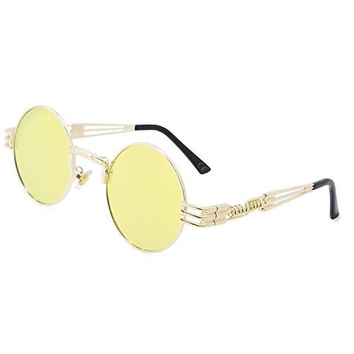 AMZTM Retro Steampunk Verspiegelt Sonnenbrille Klassischer Kreis Hippie Brille für Damen Herren Polarisierte Linse Runder Metallrahmen UV400 Schutz Alte Mode Brille (Golden Rahmen Gold-gelb, 49)