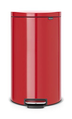 Brabantia 484988 Poubelle pédale Flatback avec seau en plastique, 30 L - Rouge