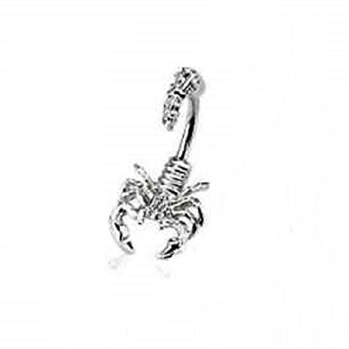 Gekko Body Jewellery Surgical Steel 14 Gauge (1.6mm) Scorpion Belly Bar with Clear Multi Gemmed Head and Tail