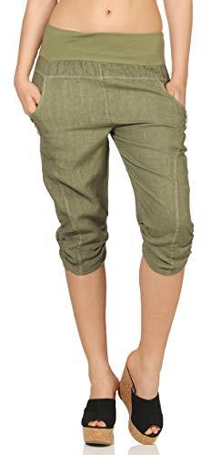 57bff081baffb1 Malito Damen Hose aus Leinen | Stoffhose in Uni Farben | Freizeithose mit  Knöpfen | Chino