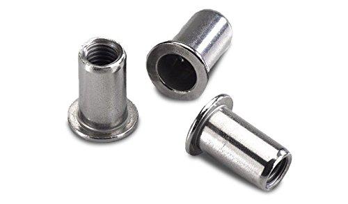 10 Stück Blindnietmuttern M8 / Nietmuttern M8 / Einnietmuttern aus Aluminium zur Befestigung von z.B. Doppelstabmatten am Zaun-Pfosten.