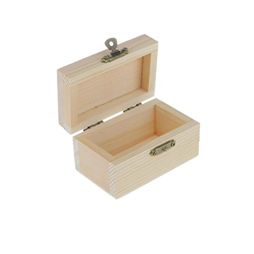 ELECTROPRIME® 2pcs Plain Wood Unfinished Jewellery Box Case Trinkets DIY Handmade Crafts
