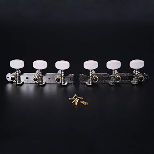 JOYKK 1 Paar L/R Klassikgitarrensaiten-Stimmwirbel Mechaniken Stimmgeräte Schlüssel Teile - Silber + Weiß - Linkshänder-shirt