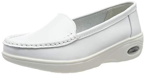 Moonwalker Zapatos Sanitarios Confort Mujer Sin Cordones en Cuero (EUR 34.5,Blanco2)