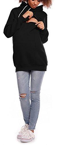 Happy Mama. Damen Sweatshirt Stillzeit Reißverschluss Stillen Rollkragen. 354p Schwarz