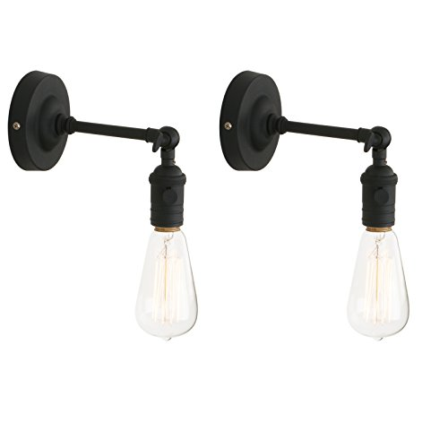 Pathson 2x Antik Deko Design Wandbeleuchtung Wandleuchten Vintage Industrie Loft-Wandlampen Wandbeleuchtung (Schwarz Farbe) -