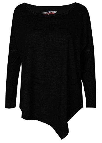 trueprodigy Casual Damen Marken Long Sleeve einfarbig Basic, Oberteil cool und stylisch mit Rundhals (Langarm & Slim Fit), Top für Frauen in Farbe: Schwarz 1063172-2999-S