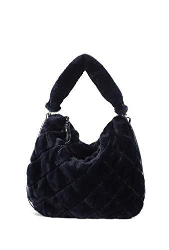 Angkorly bolsos tote cabas shopper a spalla tote bag tote bag pelliccia finta frange moderno street vintage/retrò flessibile scuola donna di tendenza elegante moda idea regalo bv18292 navy