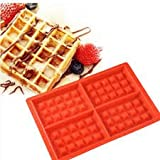 Skyfish Silicone Waffle Mould Tray for Cake Cookie Muffin Chocolate Bakeware and Baking Tool