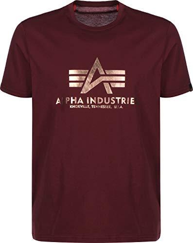 Alpha Industries T-Shirt Basic viele Farben (XXL, Burgundy/Gold) Alpha Parka