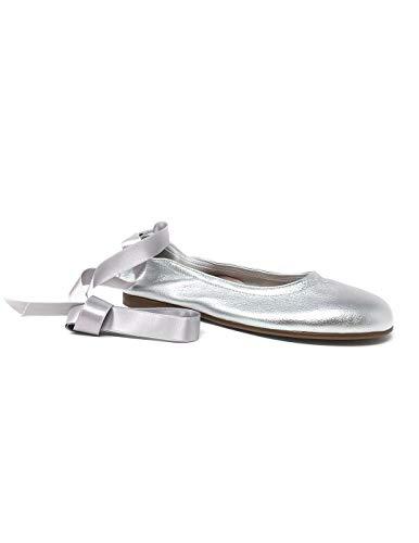 beberlis Silberfarbene Ballerina mit Schleife, Grau - grau - Größe: 40 EU