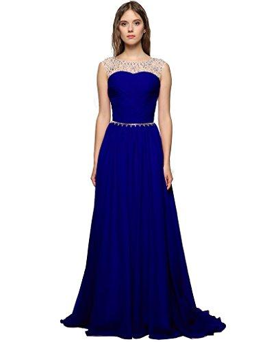 Judi Dench@ Abito Donna Eleganti Lunghi Di Chiffon Senza Maniche Da Sera Cerimonia Ballo Coctail Dress Vestito Maxi, Taglia 42, blu marino