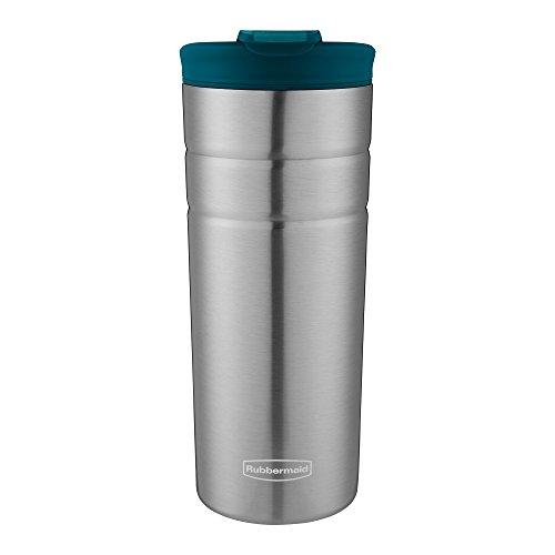 Rubbermaid Flip Lid 16oz Lagoon Blue Vacuum Thermal Stainless Steel Travel Mug -