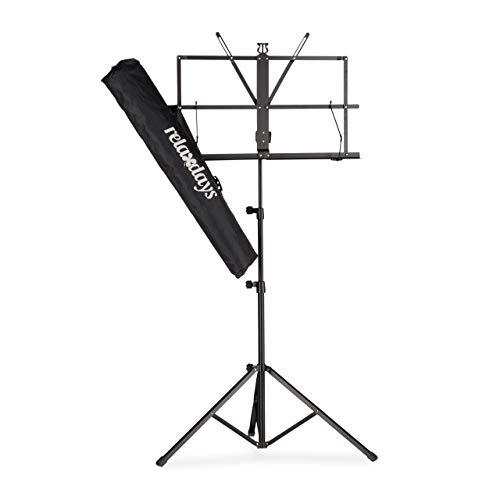 Relaxdays Notenständer mit Tasche, Notenpult, Orchesterpult, Notenablage, klappbar und leicht, 60-130 cm, in Schwarz
