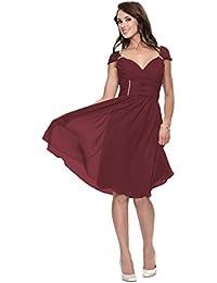 Astrapahl Festliches Kleid knielang Abendkleid Cocktailkleid breite Träger Farbe weinrot