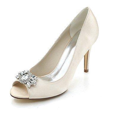 Wuyulunbi@ Scarpe donna raso Primavera Estate anello di convergenza della pompa base scarpe matrimonio Stiletto Heel Peep toe strass per la festa di nozze & SERA UNA Champagne