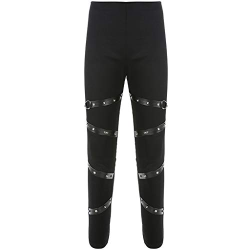 Punk-band Kleidung (WQIANGHZI Frauen Sexy Niet Gebundenes Band Leggings Gothic Skinny Leggings Punk Black Hose Hosen Punk-Temperament Dunkler Wind Pants)