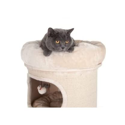 Sturdy Cat Scratching Barrel Three Dens With Individual Removable & Washable Cushions And A Comfy Snuggle Bed - With A Solid Wood Base By eCommerce Exellence 5