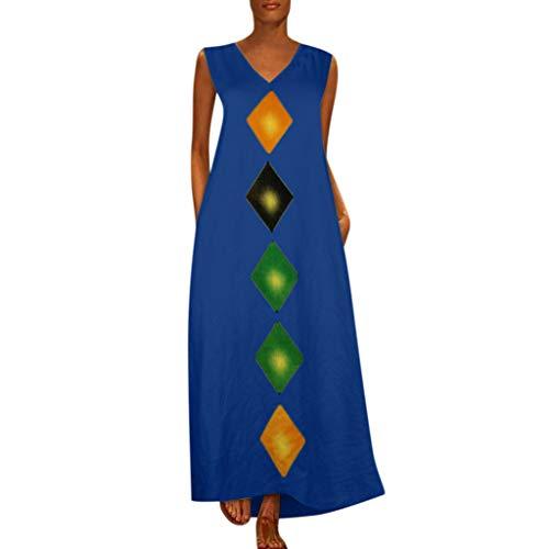 Zegeey Damen Kleid Retro ÄRmellos V-Ausschnitt BöHmen Blumen Drucken Sommer Maxikleid Sommerkleider Strandkleider Blusenkleid (EU-38/CN-XL,D5-Blau)