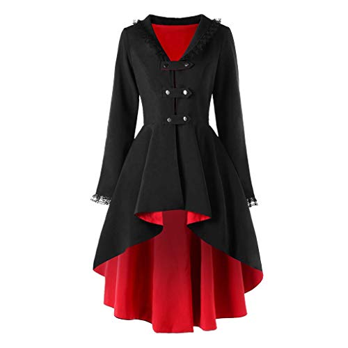 Shirt Kostüm Juno - Splrit-MAN Damen Mantel Steampunk Gothic Long Coat Mantel Retro Jacke Langer Mantel Kostüm Cosplay Kostüm Smoking Jacke Uniform