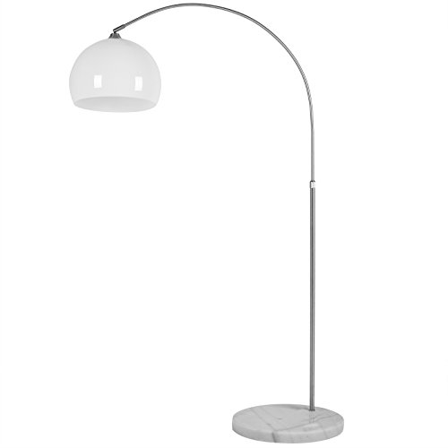 Deuba® Design Bogenlampe mit standfestem Marmorfuß höhenverstellbar 146-220cm weiß - Fußschalter - Stehlampe Stehleuchte Bogenleuchte Bogenstandleuchte Standleuchte