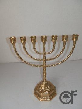 Jewish Menorah Candlestick 7Arms Large Polished Brass