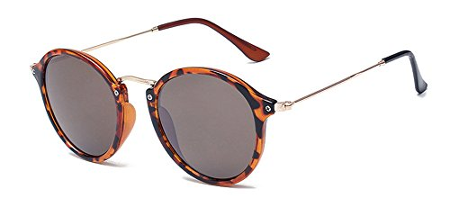 Outray Vintage Klassiker Sonnenbrille,Retro Rund Sunglass bunte Sonnenbrillen,Polycarbonatlinse Brille, Leopard-Druck